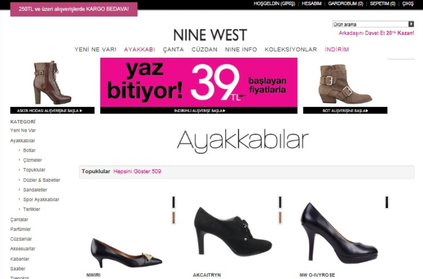 Nine West kampanya: 2. de ek %20