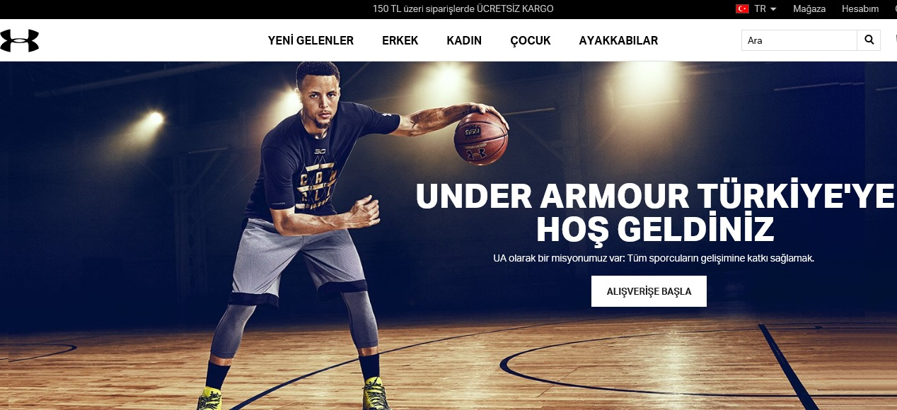 Under Armour indirim kodu ile sepette %15